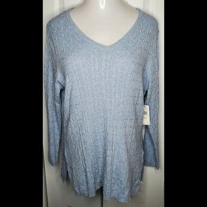 New Cable Knit V Neck Sweater Pullover Size 1X